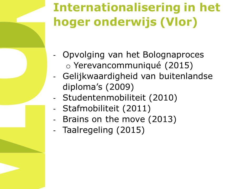 Internationalisering in het hoger onderwijs (Vlor) - Opvolging van het Bolognaproces o Yerevancommuniqué (2015) - Gelijkwaardigheid van buitenlandse diploma's (2009) - Studentenmobiliteit (2010) - Stafmobiliteit (2011) - Brains on the move (2013) - Taalregeling (2015)