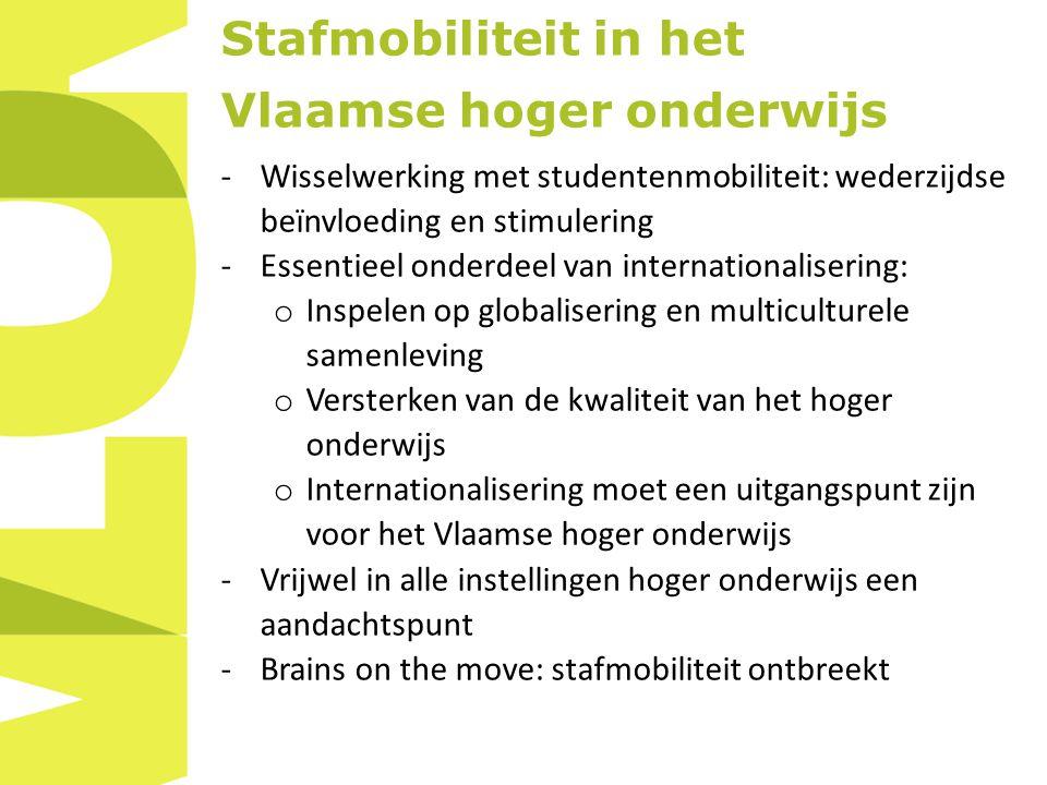 Stafmobiliteit in het Vlaamse hoger onderwijs -Wisselwerking met studentenmobiliteit: wederzijdse beïnvloeding en stimulering -Essentieel onderdeel van internationalisering: o Inspelen op globalisering en multiculturele samenleving o Versterken van de kwaliteit van het hoger onderwijs o Internationalisering moet een uitgangspunt zijn voor het Vlaamse hoger onderwijs -Vrijwel in alle instellingen hoger onderwijs een aandachtspunt -Brains on the move: stafmobiliteit ontbreekt