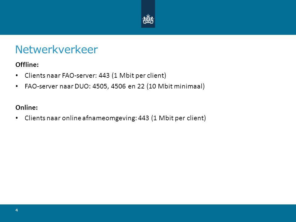 Netwerkverkeer Offline: Clients naar FAO-server: 443 (1 Mbit per client) FAO-server naar DUO: 4505, 4506 en 22 (10 Mbit minimaal) Online: Clients naar