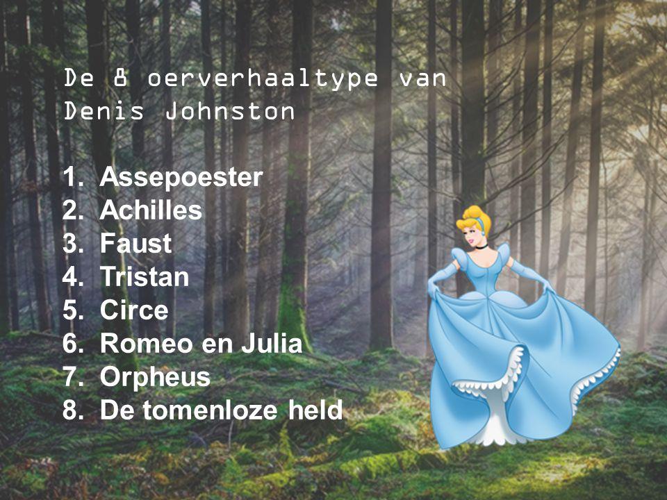 De 8 oerverhaaltype van Denis Johnston 1.Assepoester 2.Achilles 3.Faust 4.Tristan 5.Circe 6.Romeo en Julia 7.Orpheus 8.De tomenloze held