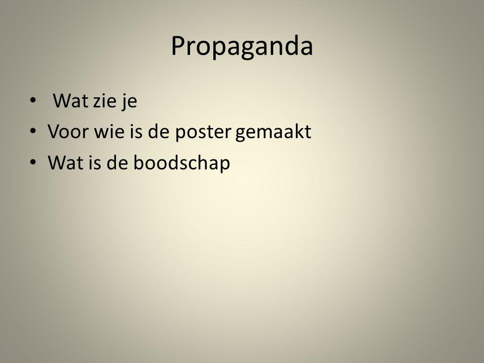 Propaganda Wat zie je Voor wie is de poster gemaakt Wat is de boodschap