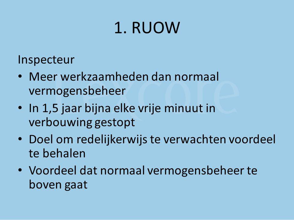 1. RUOW Inspecteur Meer werkzaamheden dan normaal vermogensbeheer In 1,5 jaar bijna elke vrije minuut in verbouwing gestopt Doel om redelijkerwijs te
