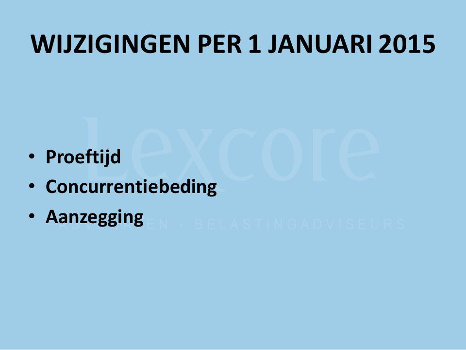 PROEFTIJD artikel 7:652 BW NIET bij overeenkomst bij arbeidsovereenkomst van 6 maanden of korter NIET bij een opvolgende arbeidsovereenkomst TENZIJ andere vaardigheden of verantwoordelijkheden Duur van de proeftijd blijft hetzelfde Onbepaalde tijd: maximaal 2 maanden Bepaalde tijd: overeenkomst < 2 jaar – 1 maand proeftijd overeenkomst ≥2 jaar – 2 maanden proeftijd DUS: overeenkomst bepaalde tijd 6-24 maanden, 1 maand proeftijd overeenkomst onbepaalde tijd/overeenkomst bepaalde tijd ≥ 24 maanden, 2 maanden proeftijd