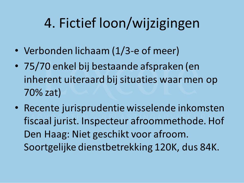 4. Fictief loon/wijzigingen Verbonden lichaam (1/3-e of meer) 75/70 enkel bij bestaande afspraken (en inherent uiteraard bij situaties waar men op 70%
