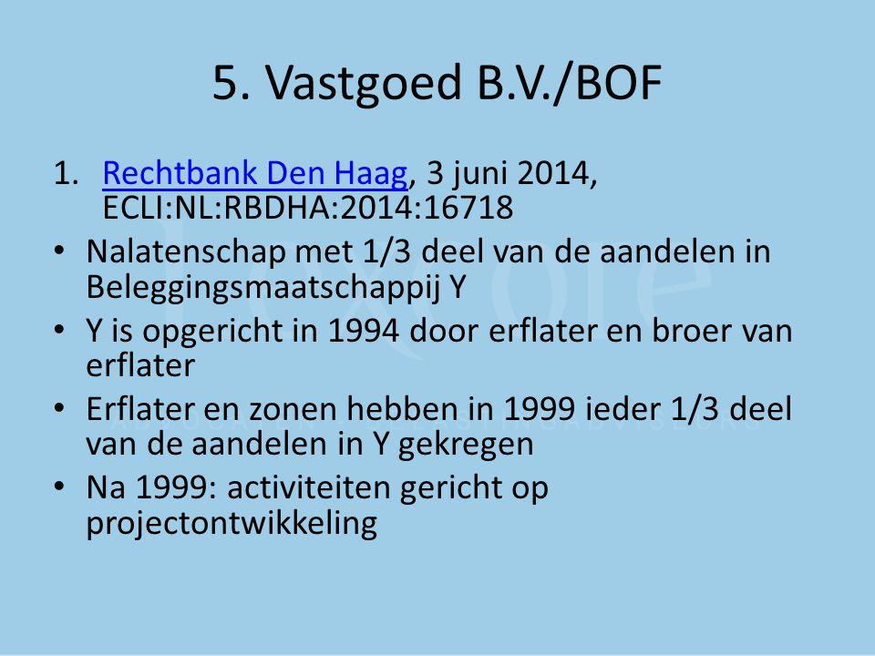 5. Vastgoed B.V./BOF 1.Rechtbank Den Haag, 3 juni 2014, ECLI:NL:RBDHA:2014:16718Rechtbank Den Haag Nalatenschap met 1/3 deel van de aandelen in Belegg