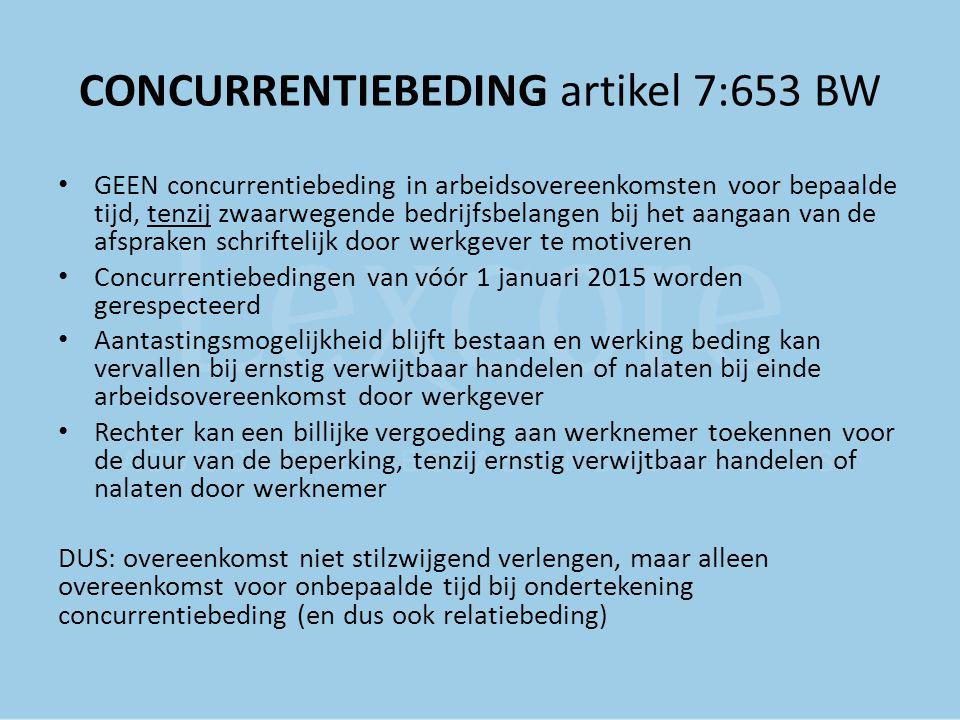 CONCURRENTIEBEDING artikel 7:653 BW GEEN concurrentiebeding in arbeidsovereenkomsten voor bepaalde tijd, tenzij zwaarwegende bedrijfsbelangen bij het