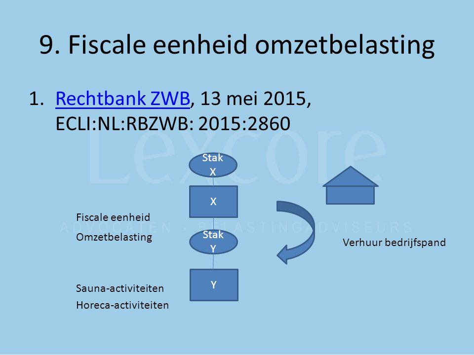 9. Fiscale eenheid omzetbelasting 1.Rechtbank ZWB, 13 mei 2015, ECLI:NL:RBZWB: 2015:2860Rechtbank ZWB Fiscale eenheid Omzetbelasting Sauna-activiteite