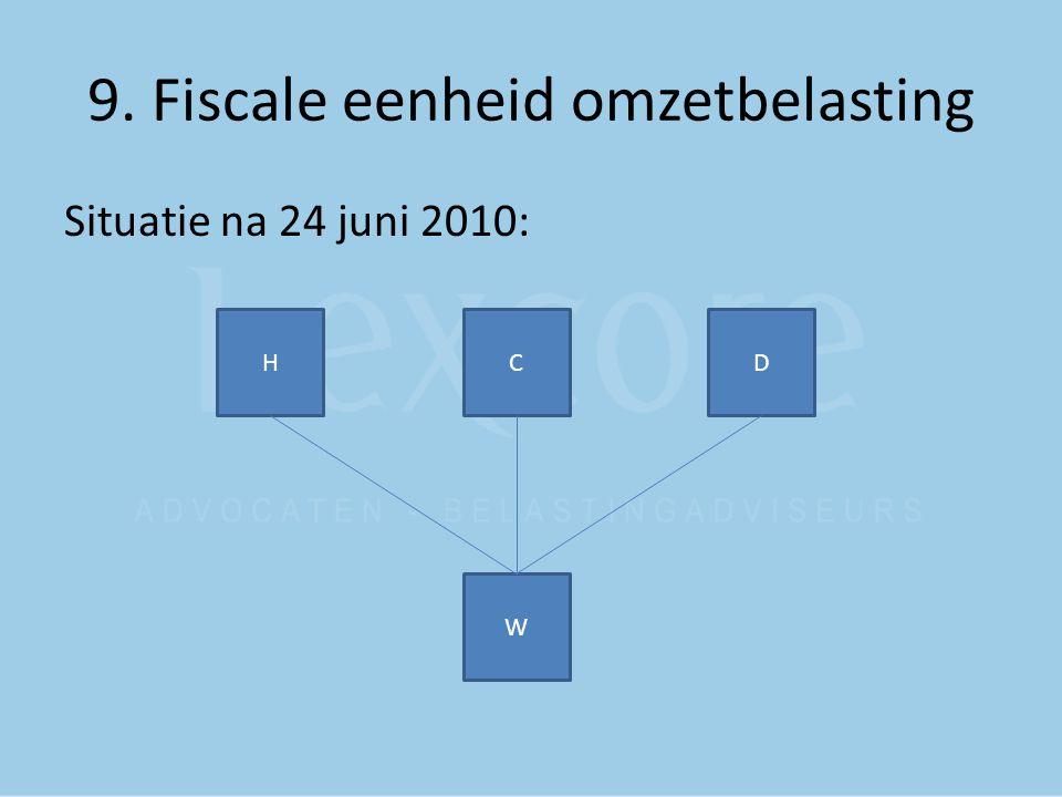 9. Fiscale eenheid omzetbelasting Situatie na 24 juni 2010: C W HD
