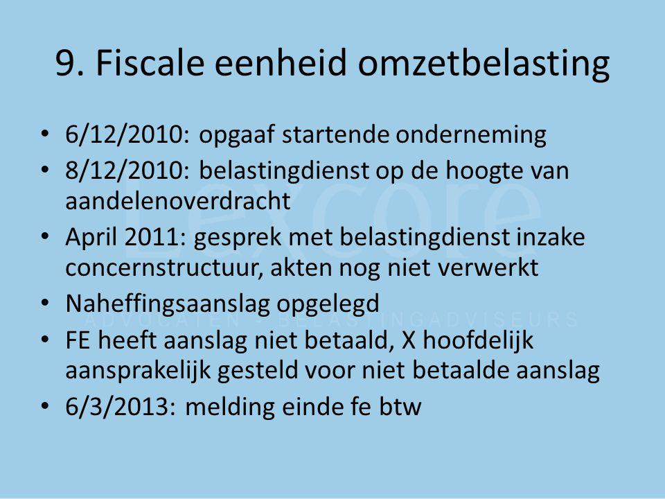 9. Fiscale eenheid omzetbelasting 6/12/2010: opgaaf startende onderneming 8/12/2010: belastingdienst op de hoogte van aandelenoverdracht April 2011: g