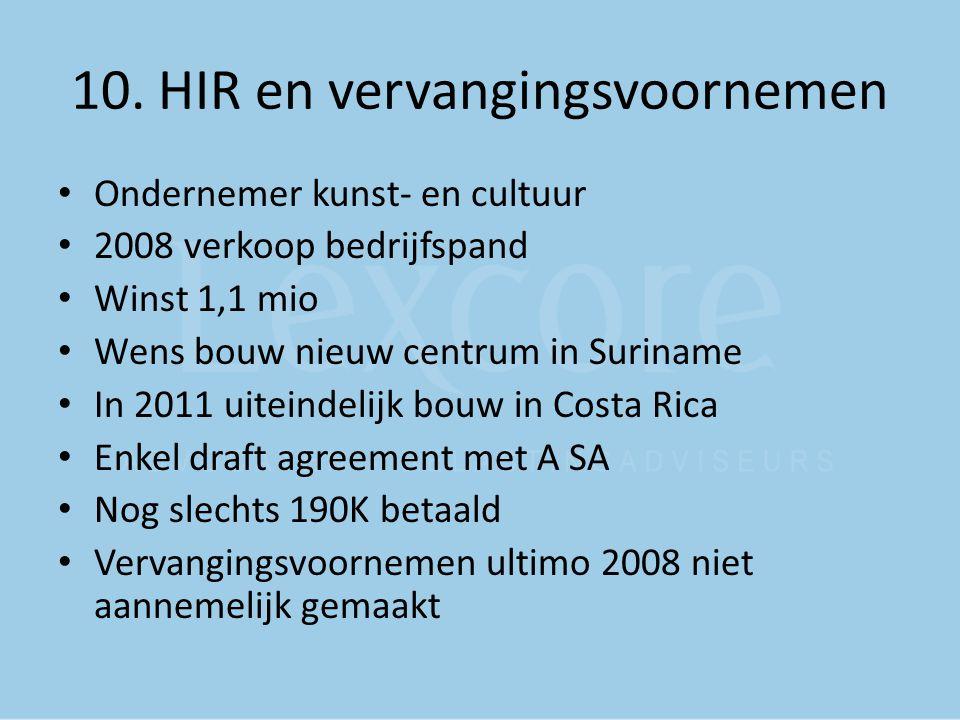 10. HIR en vervangingsvoornemen Ondernemer kunst- en cultuur 2008 verkoop bedrijfspand Winst 1,1 mio Wens bouw nieuw centrum in Suriname In 2011 uitei