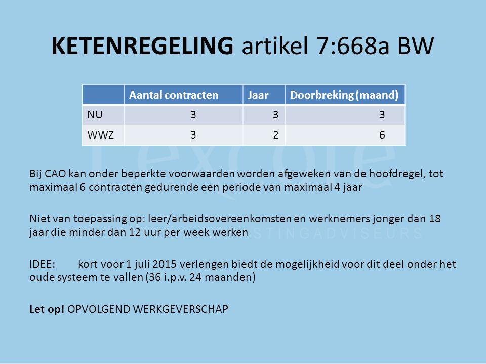 KETENREGELING artikel 7:668a BW Bij CAO kan onder beperkte voorwaarden worden afgeweken van de hoofdregel, tot maximaal 6 contracten gedurende een per