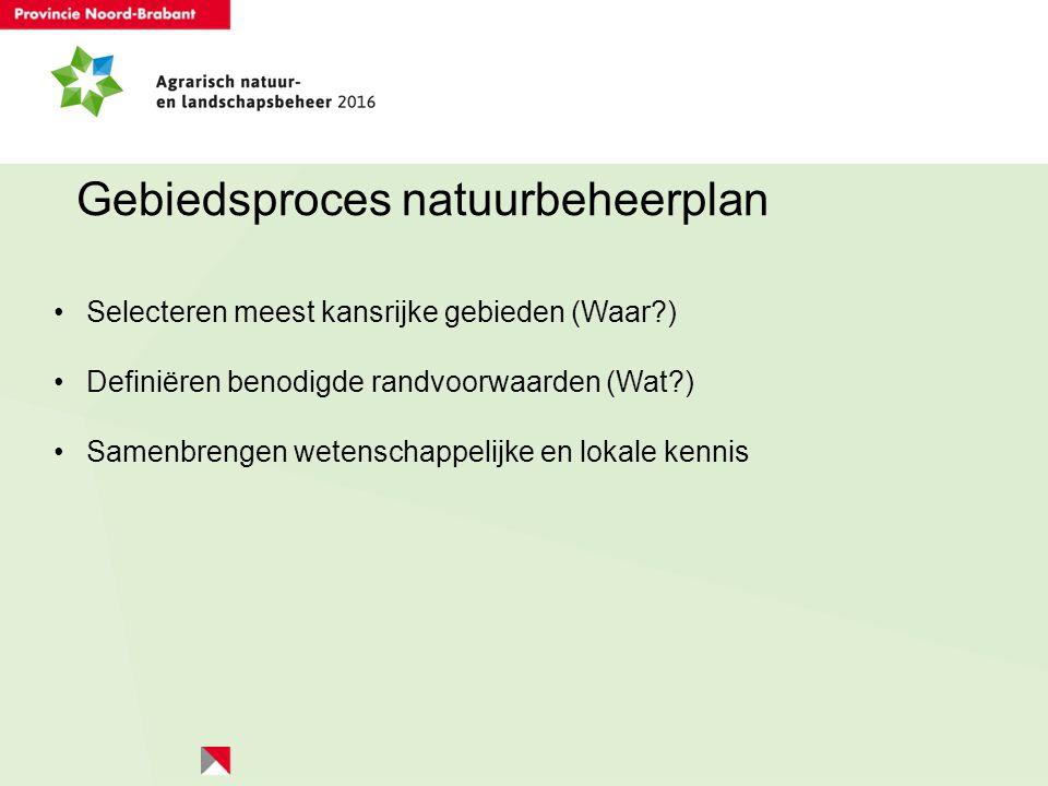 Gebiedsproces natuurbeheerplan Selecteren meest kansrijke gebieden (Waar?) Definiëren benodigde randvoorwaarden (Wat?) Samenbrengen wetenschappelijke