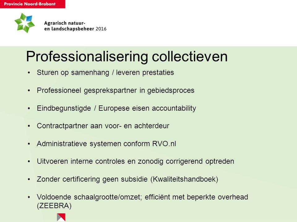 Professionalisering collectieven Sturen op samenhang / leveren prestaties Professioneel gesprekspartner in gebiedsproces Eindbegunstigde / Europese ei