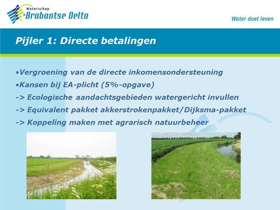 Pijler 1: Directe betalingen Vergroening van de directe inkomensondersteuning Kansen bij EA-plicht (5%-opgave) -> Ecologische aandachtsgebieden waterg