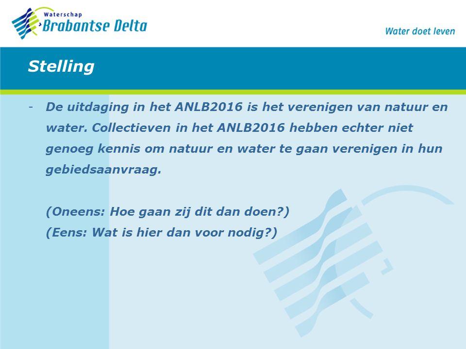 Stelling -De uitdaging in het ANLB2016 is het verenigen van natuur en water. Collectieven in het ANLB2016 hebben echter niet genoeg kennis om natuur e
