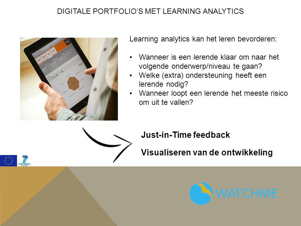 DIGITALE PORTFOLIO'S MET LEARNING ANALYTICS Just-in-Time feedback Visualiseren van de ontwikkeling Learning analytics kan het leren bevorderen: Wanneer is een lerende klaar om naar het volgende onderwerp/niveau te gaan.