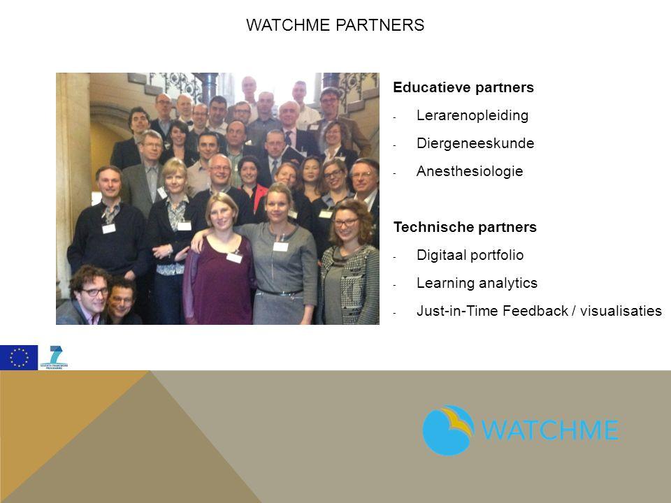 WATCHME PARTNERS Educatieve partners - Lerarenopleiding - Diergeneeskunde - Anesthesiologie Technische partners - Digitaal portfolio - Learning analytics - Just-in-Time Feedback / visualisaties