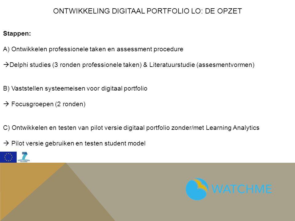 ONTWIKKELING DIGITAAL PORTFOLIO LO: DE OPZET Stappen: A) Ontwikkelen professionele taken en assessment procedure  Delphi studies (3 ronden professionele taken) & Literatuurstudie (assesmentvormen) B) Vaststellen systeemeisen voor digitaal portfolio  Focusgroepen (2 ronden) C) Ontwikkelen en testen van pilot versie digitaal portfolio zonder/met Learning Analytics  Pilot versie gebruiken en testen student model