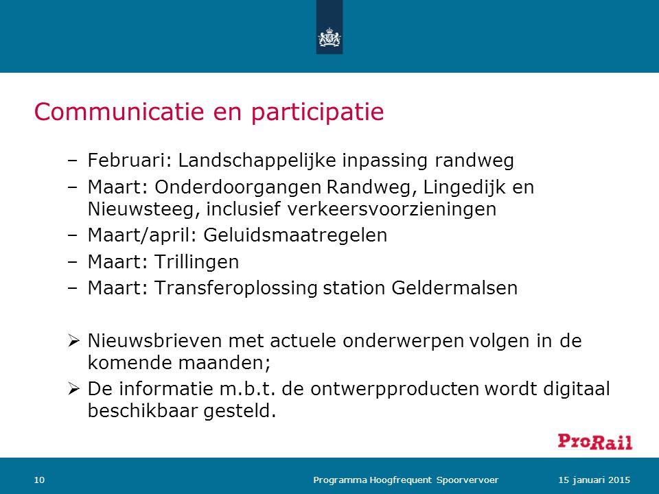 Communicatie en participatie 1015 januari 2015 Programma Hoogfrequent Spoorvervoer –Februari: Landschappelijke inpassing randweg –Maart: Onderdoorgang