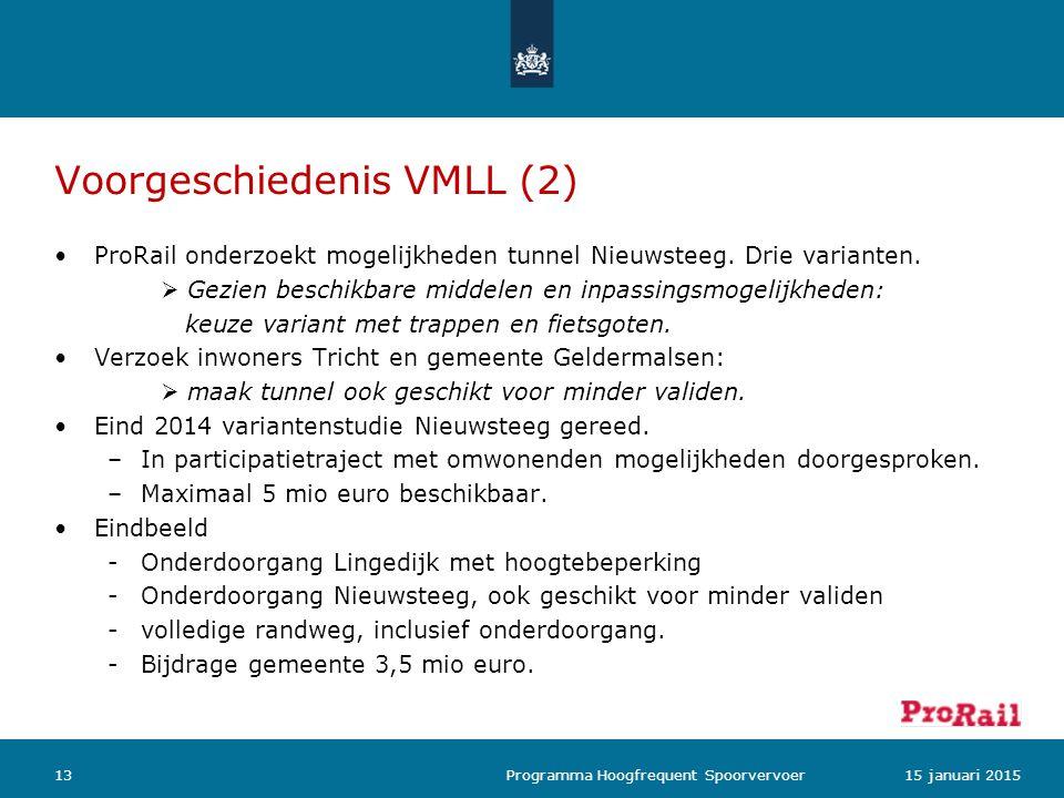 Voorgeschiedenis VMLL (2) ProRail onderzoekt mogelijkheden tunnel Nieuwsteeg. Drie varianten.  Gezien beschikbare middelen en inpassingsmogelijkheden