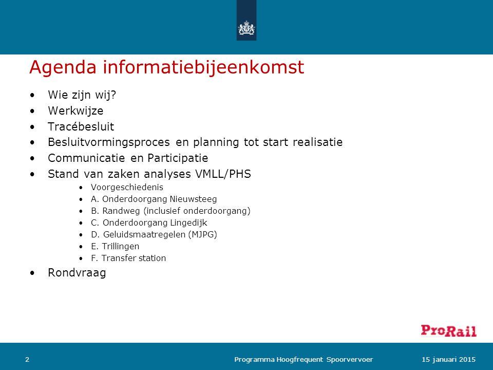 Agenda informatiebijeenkomst Wie zijn wij? Werkwijze Tracébesluit Besluitvormingsproces en planning tot start realisatie Communicatie en Participatie