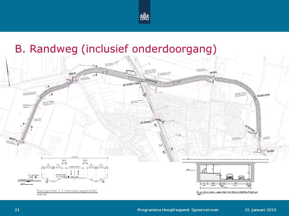B. Randweg (inclusief onderdoorgang) 2115 januari 2015 Programma Hoogfrequent Spoorvervoer