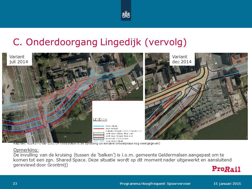 C. Onderdoorgang Lingedijk (vervolg) 2315 januari 2015 Programma Hoogfrequent Spoorvervoer Rap/tek: RIS437-1-BB-1101 (in rood/blauw is de oplossing ui
