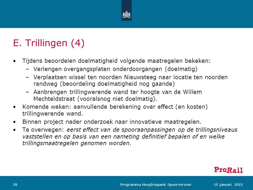 E. Trillingen (4) 2815 januari 2015 Programma Hoogfrequent Spoorvervoer Tijdens beoordelen doelmatigheid volgende maatregelen bekeken: –Verlengen over