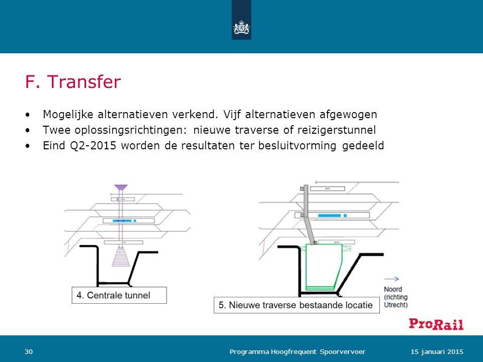 Mogelijke alternatieven verkend. Vijf alternatieven afgewogen Twee oplossingsrichtingen: nieuwe traverse of reizigerstunnel Eind Q2-2015 worden de res