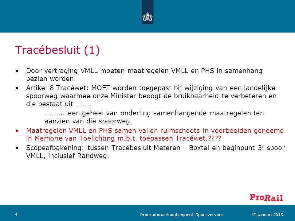 Tracébesluit (1) Door vertraging VMLL moeten maatregelen VMLL en PHS in samenhang bezien worden. Artikel 8 Tracéwet: MOET worden toegepast bij wijzigi