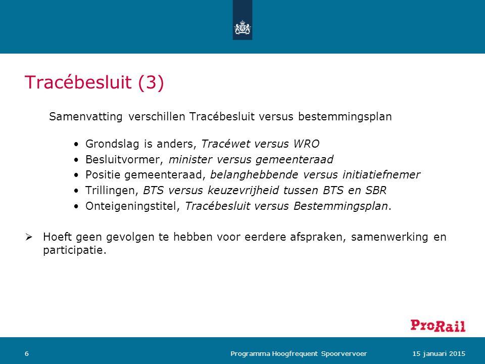 Tracébesluit (3) Samenvatting verschillen Tracébesluit versus bestemmingsplan Grondslag is anders, Tracéwet versus WRO Besluitvormer, minister versus