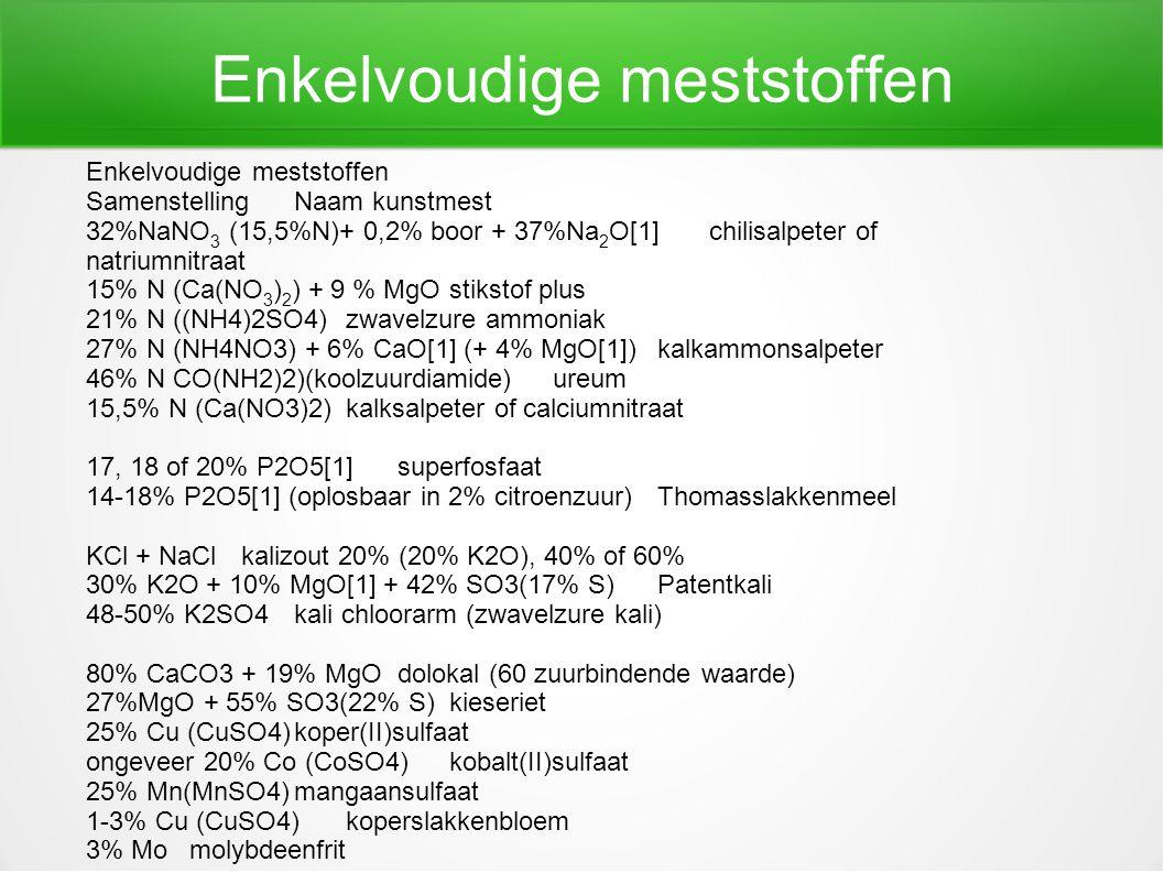 Enkelvoudige meststoffen SamenstellingNaam kunstmest 32%NaNO 3 (15,5%N)+ 0,2% boor + 37%Na 2 O[1]chilisalpeter of natriumnitraat 15% N (Ca(NO 3 ) 2 )