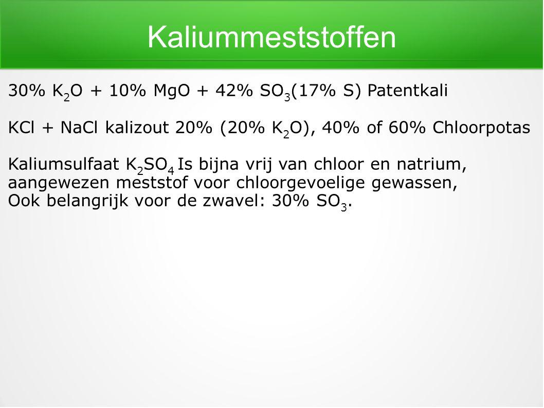 Kaliummeststoffen 30% K 2 O + 10% MgO + 42% SO 3 (17% S) Patentkali KCl + NaClkalizout 20% (20% K 2 O), 40% of 60% Chloorpotas Kaliumsulfaat K 2 SO 4