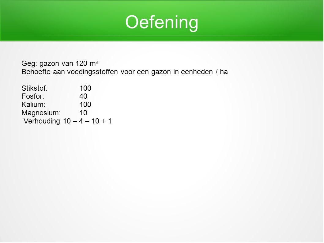 Oefening Geg: gazon van 120 m² Behoefte aan voedingsstoffen voor een gazon in eenheden / ha Stikstof:100 Fosfor:40 Kalium: 100 Magnesium:10 Verhouding