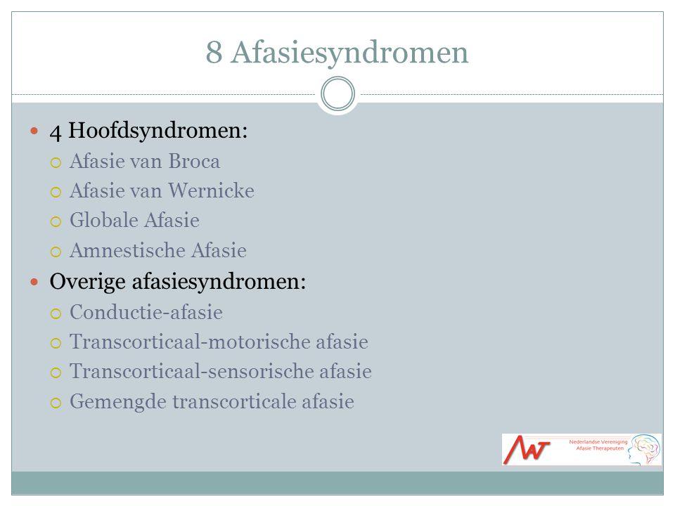 8 Afasiesyndromen 4 Hoofdsyndromen:  Afasie van Broca  Afasie van Wernicke  Globale Afasie  Amnestische Afasie Overige afasiesyndromen:  Conductie-afasie  Transcorticaal-motorische afasie  Transcorticaal-sensorische afasie  Gemengde transcorticale afasie