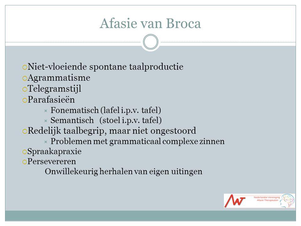Afasie van Broca  Niet-vloeiende spontane taalproductie  Agrammatisme  Telegramstijl  Parafasieën  Fonematisch (lafel i.p.v.