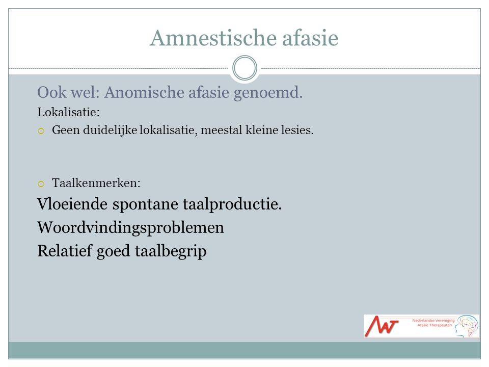 Amnestische afasie Ook wel: Anomische afasie genoemd. Lokalisatie:  Geen duidelijke lokalisatie, meestal kleine lesies.  Taalkenmerken: Vloeiende sp