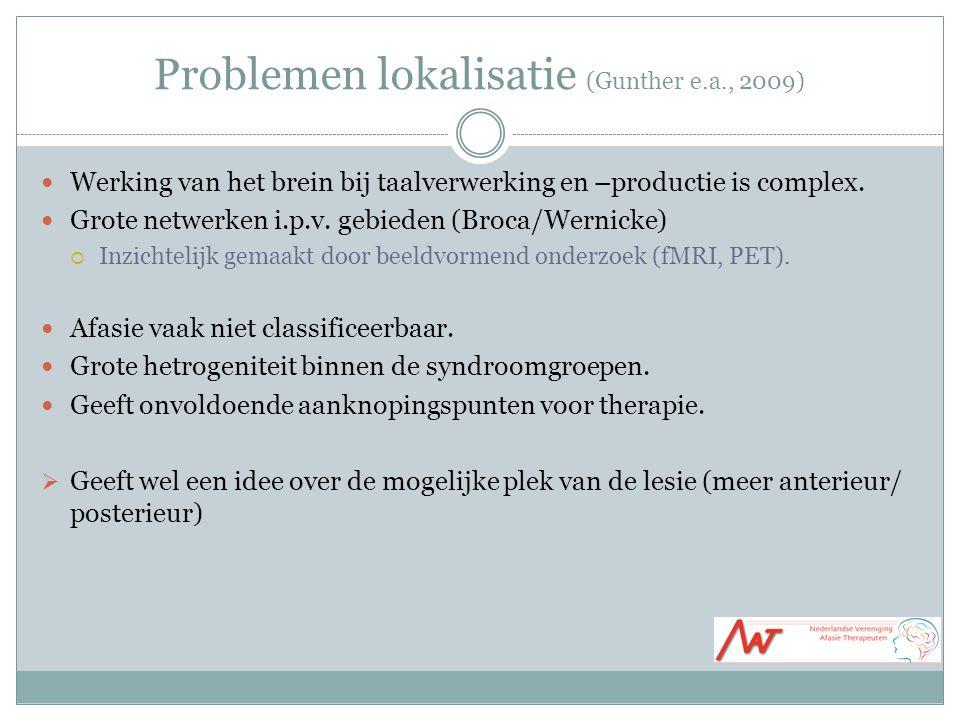 Problemen lokalisatie (Gunther e.a., 2009) Werking van het brein bij taalverwerking en –productie is complex.