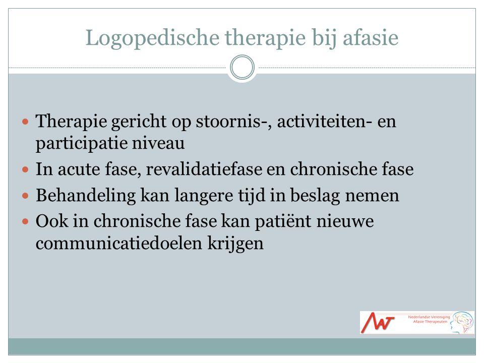 Logopedische therapie bij afasie Therapie gericht op stoornis-, activiteiten- en participatie niveau In acute fase, revalidatiefase en chronische fase