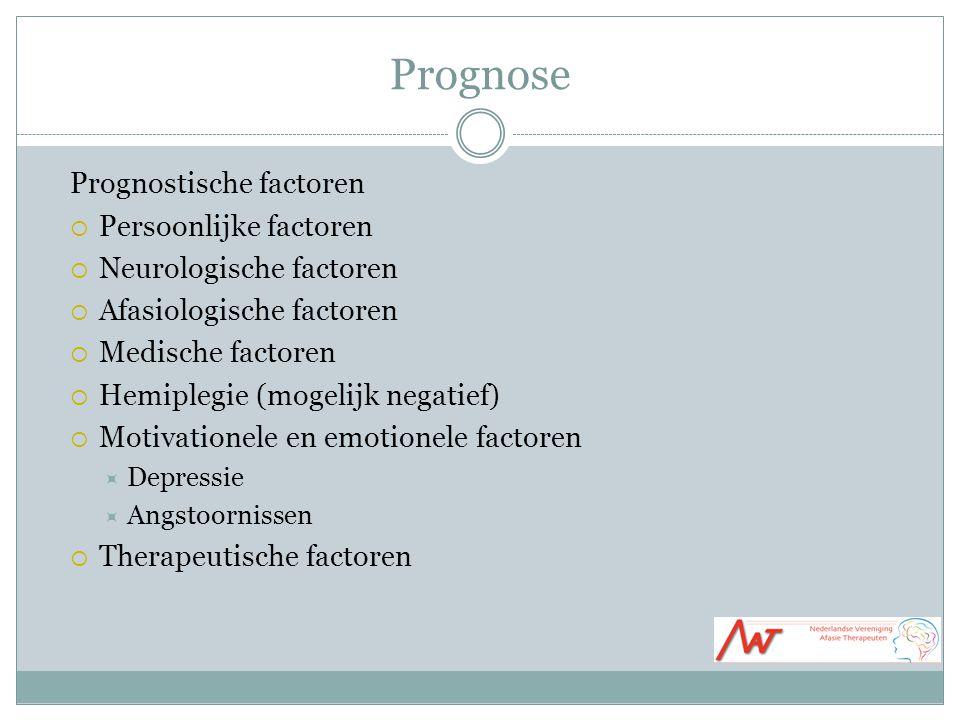Prognose Prognostische factoren  Persoonlijke factoren  Neurologische factoren  Afasiologische factoren  Medische factoren  Hemiplegie (mogelijk negatief)  Motivationele en emotionele factoren  Depressie  Angstoornissen  Therapeutische factoren