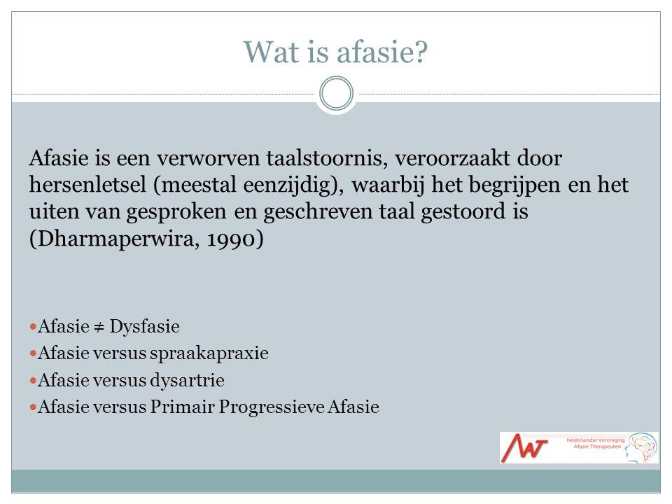 Wat is afasie? Afasie is een verworven taalstoornis, veroorzaakt door hersenletsel (meestal eenzijdig), waarbij het begrijpen en het uiten van gesprok