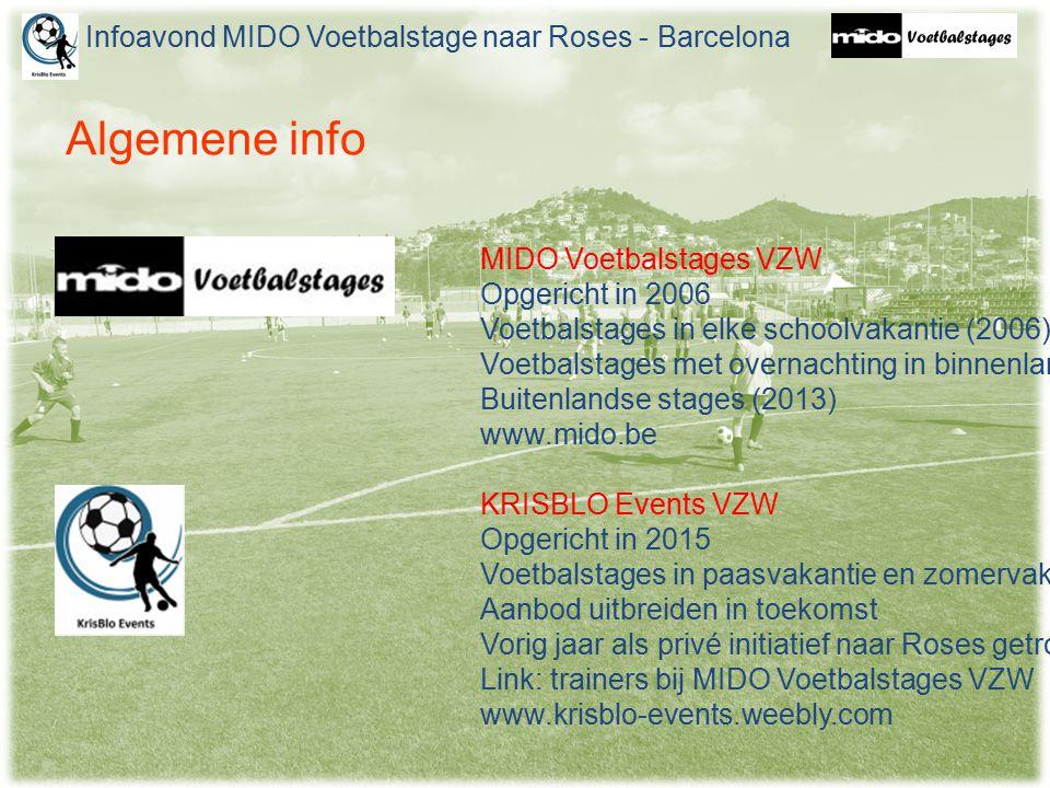 Algemene info Infoavond MIDO Voetbalstage naar Roses - Barcelona MIDO Voetbalstages VZW Opgericht in 2006 Voetbalstages in elke schoolvakantie (2006) Voetbalstages met overnachting in binnenland (2008) Buitenlandse stages (2013) www.mido.be KRISBLO Events VZW Opgericht in 2015 Voetbalstages in paasvakantie en zomervakantie Aanbod uitbreiden in toekomst Vorig jaar als privé initiatief naar Roses getrokken Link: trainers bij MIDO Voetbalstages VZW www.krisblo-events.weebly.com