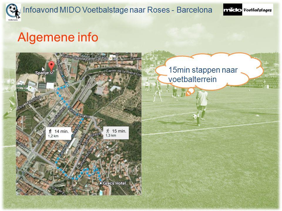 Algemene info Infoavond MIDO Voetbalstage naar Roses - Barcelona 15min stappen naar voetbalterrein