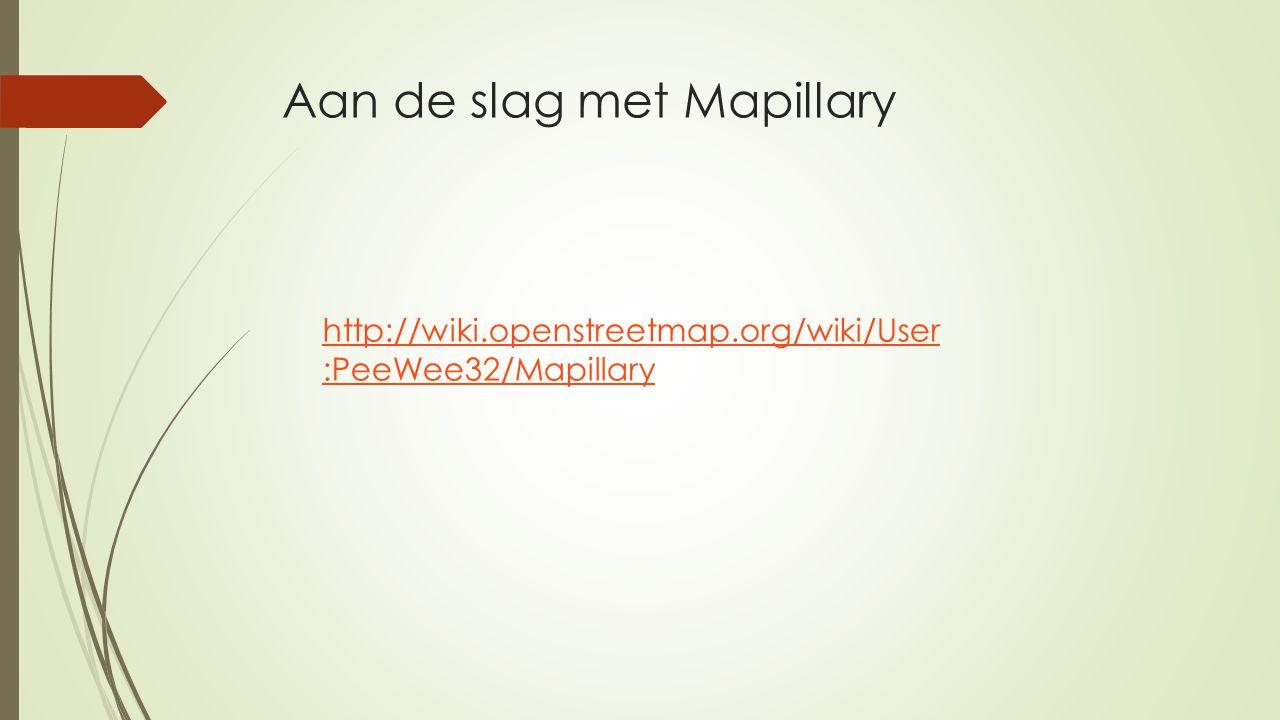 Aan de slag met Mapillary http://wiki.openstreetmap.org/wiki/User :PeeWee32/Mapillary