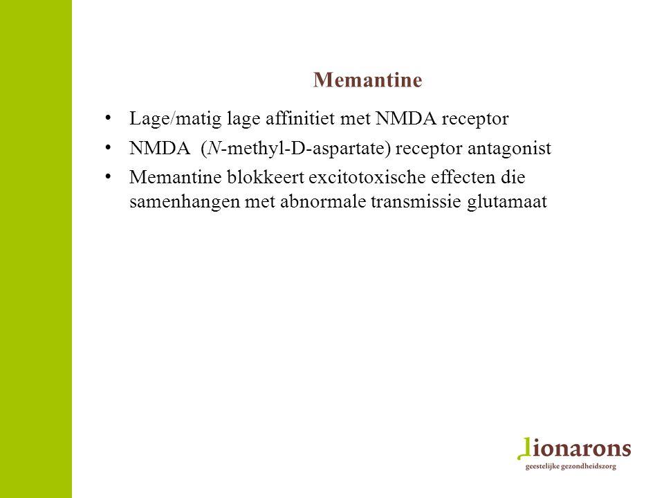 Memantine Lage/matig lage affinitiet met NMDA receptor NMDA (N-methyl-D-aspartate) receptor antagonist Memantine blokkeert excitotoxische effecten die