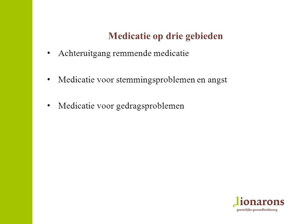 Medicatie op drie gebieden Achteruitgang remmende medicatie Medicatie voor stemmingsproblemen en angst Medicatie voor gedragsproblemen