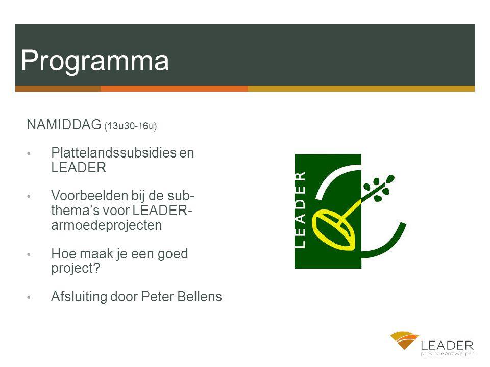 Programma NAMIDDAG (13u30-16u) Plattelandssubsidies en LEADER Voorbeelden bij de sub- thema's voor LEADER- armoedeprojecten Hoe maak je een goed project.