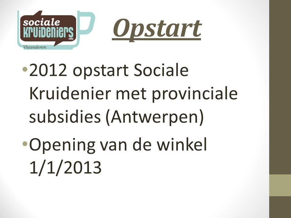 Opstart 2012 opstart Sociale Kruidenier met provinciale subsidies (Antwerpen) Opening van de winkel 1/1/2013