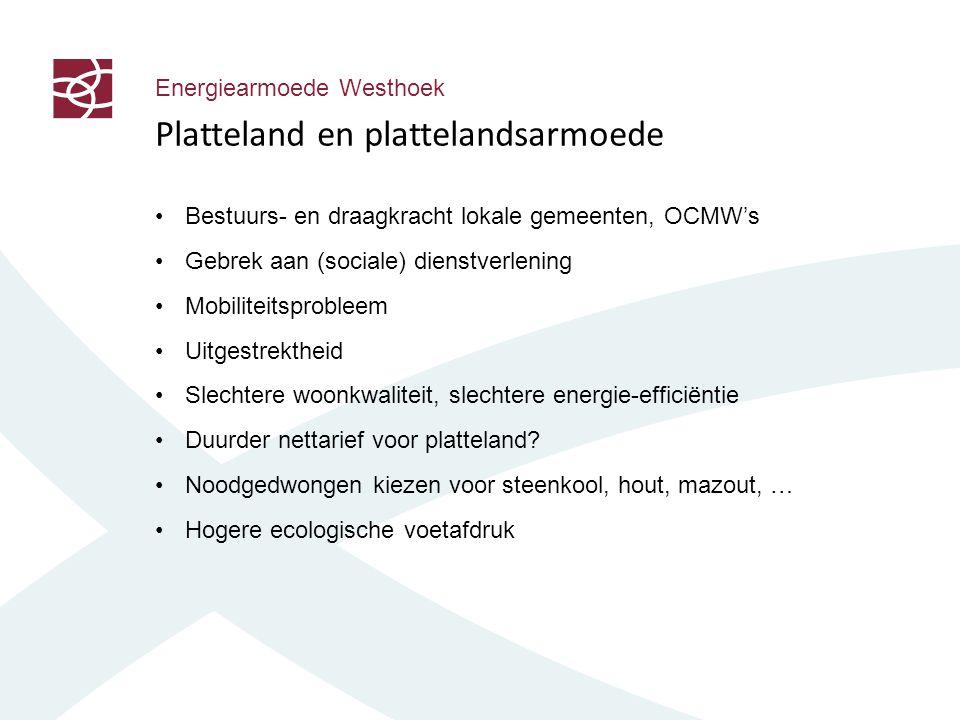 Energiearmoede Westhoek Platteland en plattelandsarmoede Bestuurs- en draagkracht lokale gemeenten, OCMW's Gebrek aan (sociale) dienstverlening Mobiliteitsprobleem Uitgestrektheid Slechtere woonkwaliteit, slechtere energie-efficiëntie Duurder nettarief voor platteland.