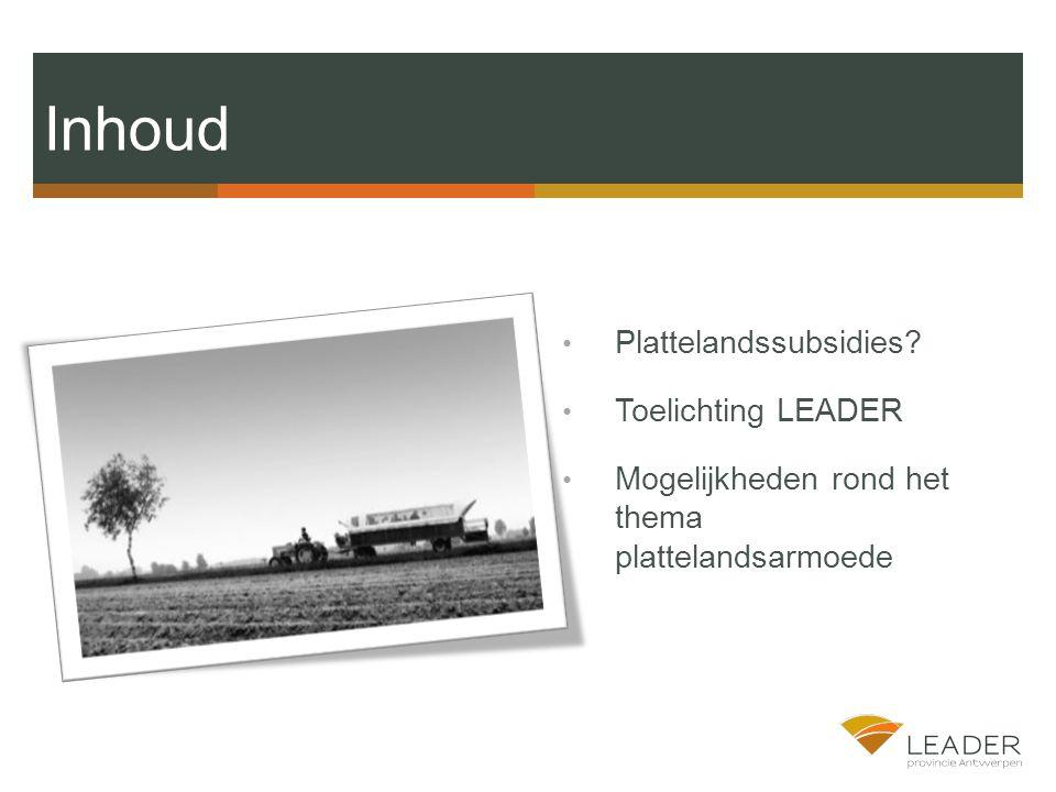 Inhoud Plattelandssubsidies Toelichting LEADER Mogelijkheden rond het thema plattelandsarmoede